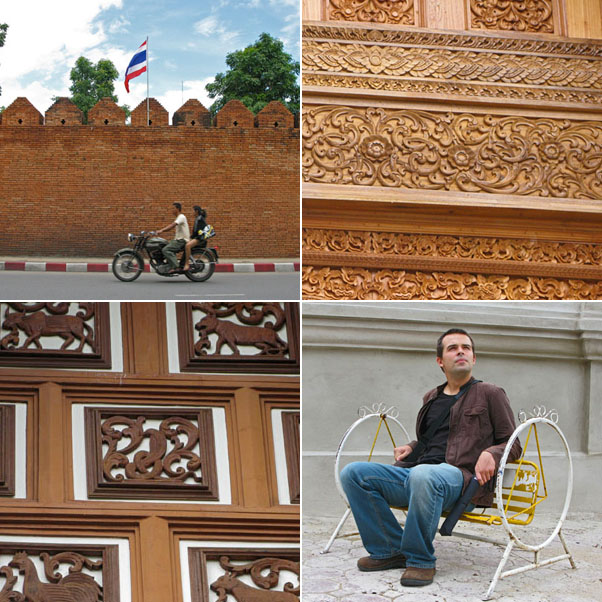The city wall near Tha Phae Gate, Wood detail at Wat Chang Taem, More wood details, Nik pondering why he is sitting on such a small swing