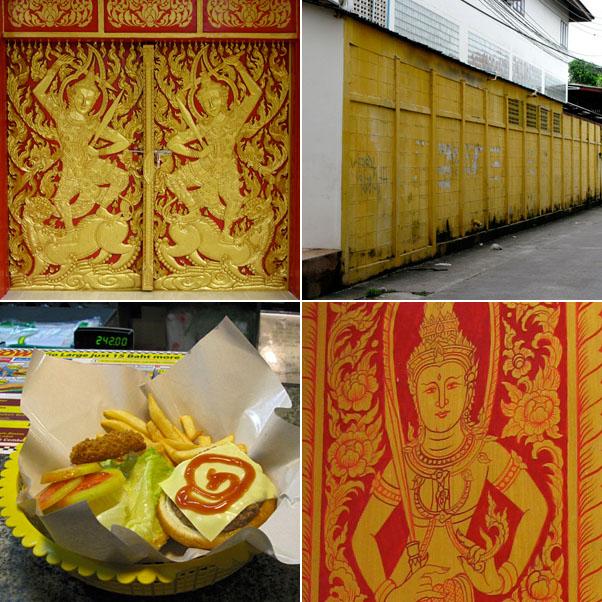 Doors at Wat Chiang Man, Yellow Wall, Burger & Fries at Mike's Burger, Window Shutter at Wat Chiang Man