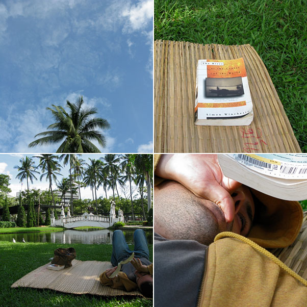 Buak Hat Public Park...The sky, My current read: The River at the Center of the World by Simon Winchester, Rented 10Bhat Bamboo Matt for 2, Nik