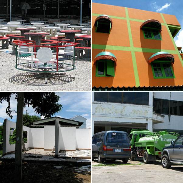 Meandering...A huge outdoor Restaurant with playground, The Orange wall, Abandoned Construction, the Green Beast