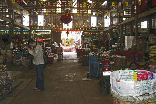 Inside one of the market buildings.
