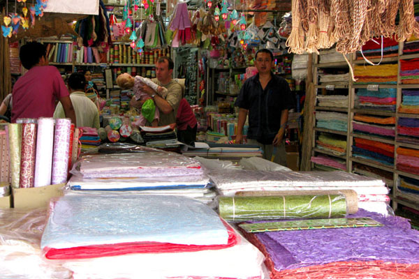 One of many colorful paper stalls