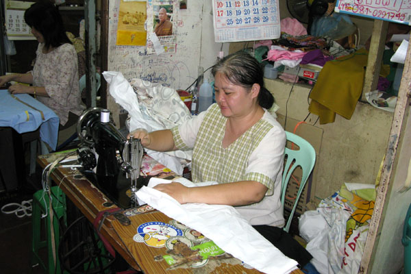 seamstress at market