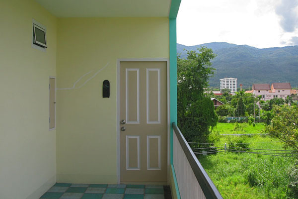 Our front door with mountains in the background.