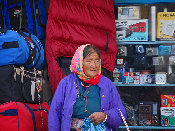 Leh, Ladakhi woman on the street (not Dolma)