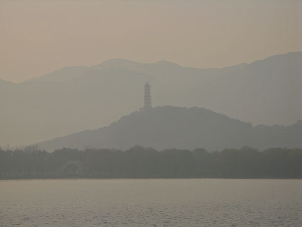 The hills beyond the Summer Palace through a thick layer of late day smog