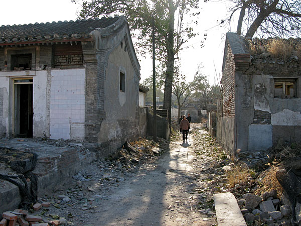 """Here, the hutongs are being demolished presumably to make way for upscale residences in part of a """"gated"""" community...at least that's what it looked like to us."""