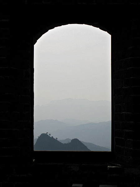 The window of the first tower.  It was a hazy morning, but soon, the sun came out and the day couldn't have been clearer!