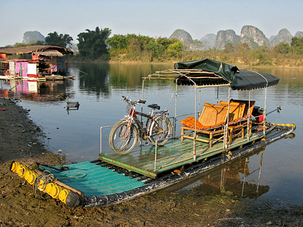 Our river chariot...ours was not the authentic bamboo raft...instead it was made of PVC pipe shaped like bamboo