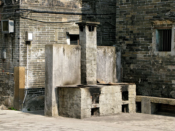 The Outdoor Stove of an amazing old building in the middle of the old walled village