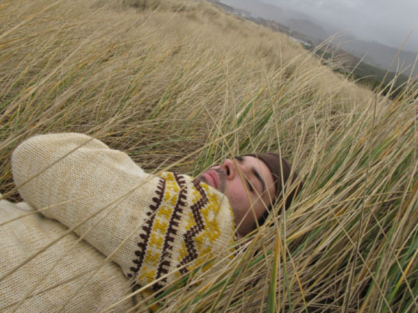 and laid down in the beach grass