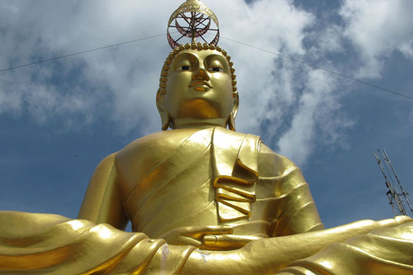We climbed a big hill in Krabi to see a big Buddha,