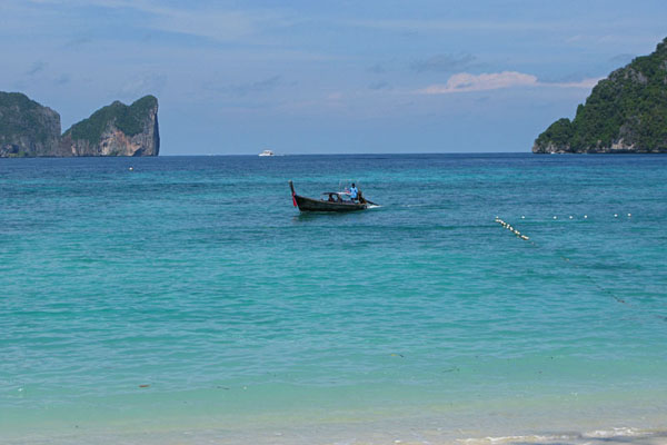 We rode a longtail boat to Koh Phi Phi,