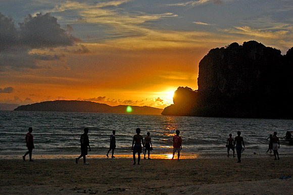 We watched soccer at sunset on Rai Leh Beach,