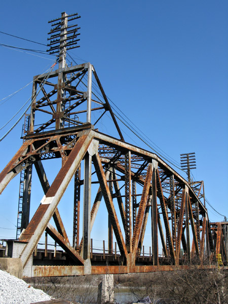 An old railroad bridge over the Cumberland River near the Nyhoff Facility.