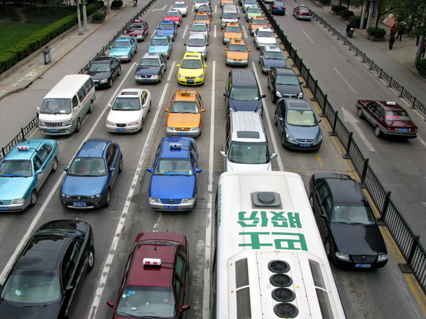 Saturday traffic seen from above