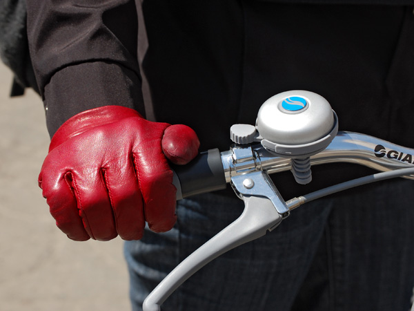 The red glove and a doozy of a bike bell