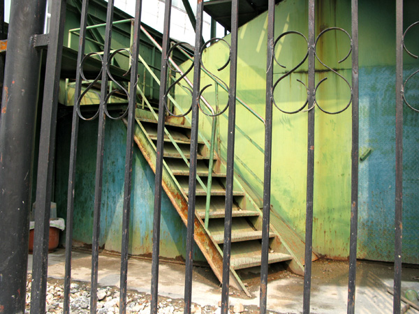 Green, teal and rust stairs