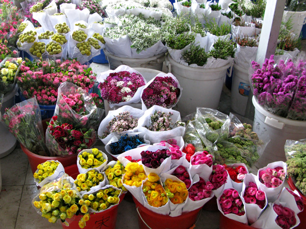 Selling hundreds of flowers.