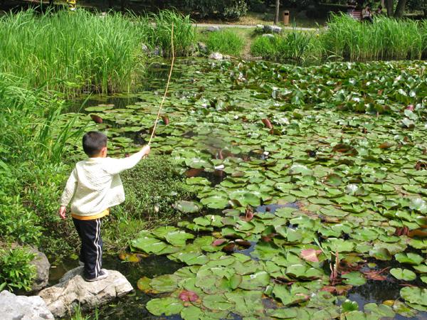 Boy fishing for Crawdads