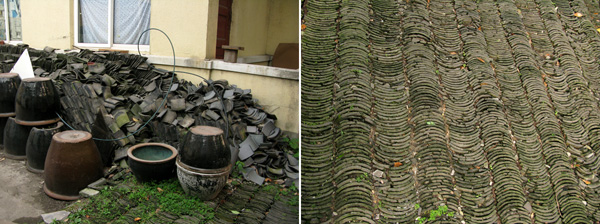 Slate roof tiles repurposed into slate courtyard pavers