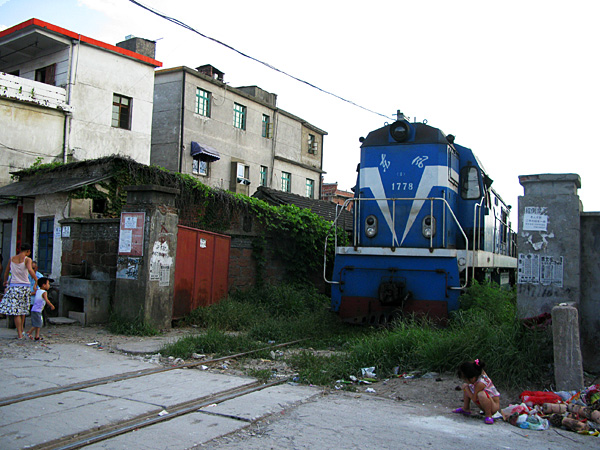 Train crossing/village dump