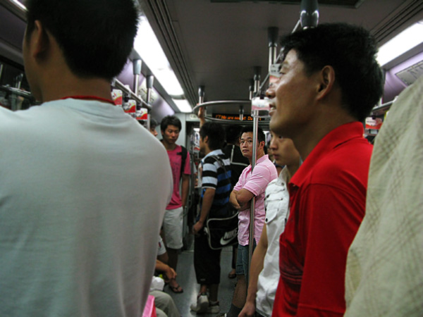 The packed train as we boarded at Damuqiao Rd Station