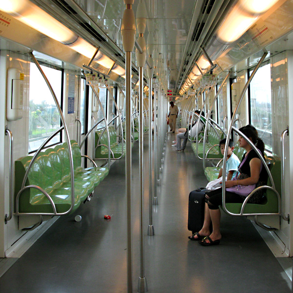 The empty train as we neared the Fujin Road Station
