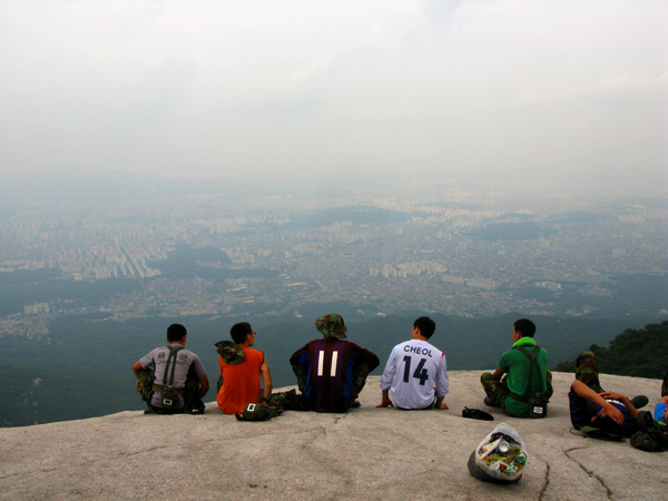 Korean soldiers enjoy the view