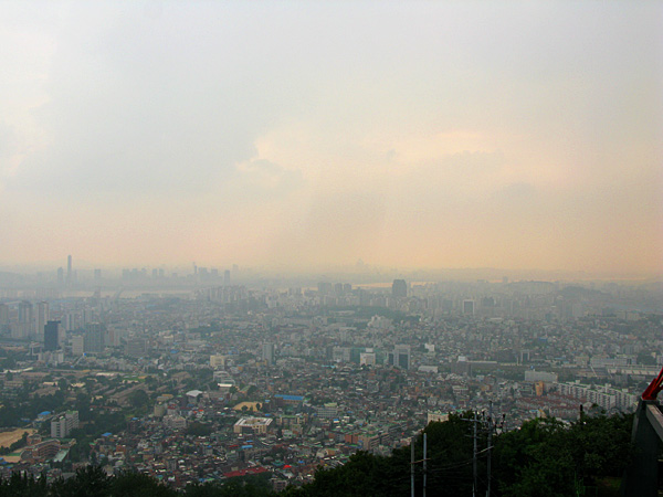 View of Seoul from the base of Namsan Tower