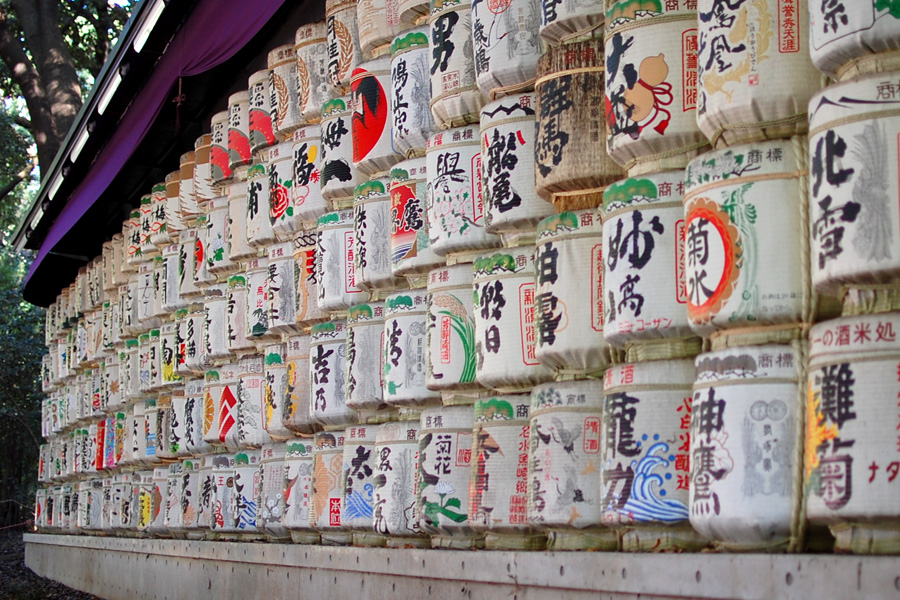 Offerings of sake at Mieji Shrine