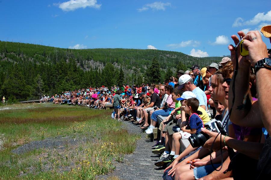 The spectators at Old Faithful - June 2013
