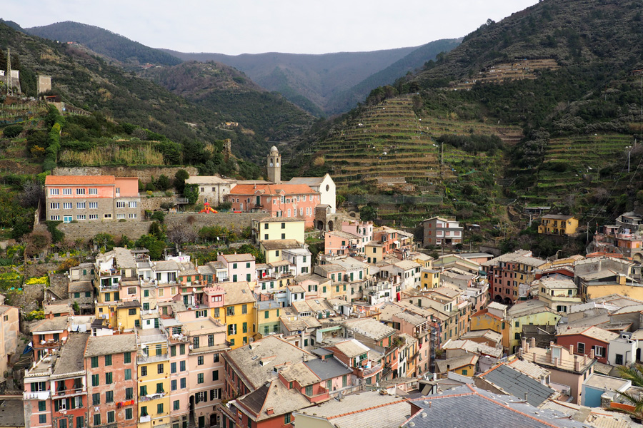 Vernazza looking towards the Apennine Mountains