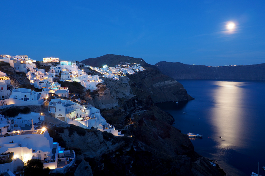 Oia in moonlight