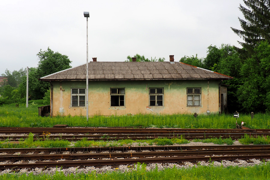 Abandoned train side building