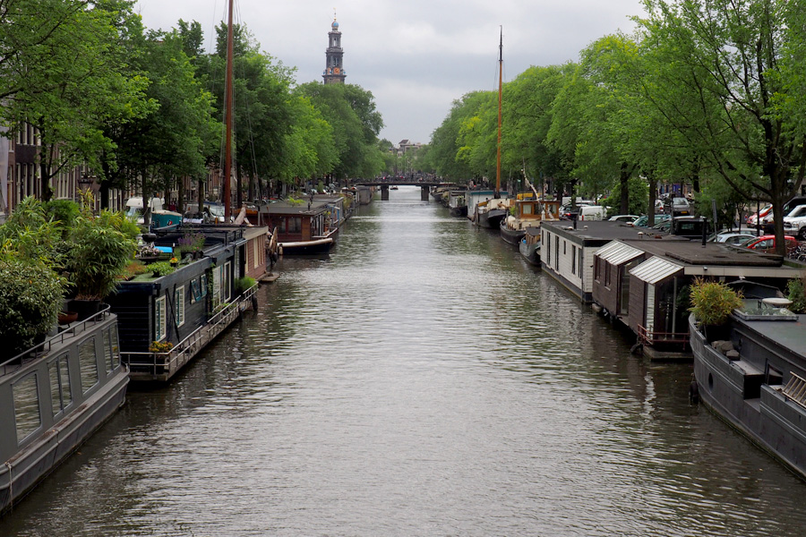 Canal lined with boat houses